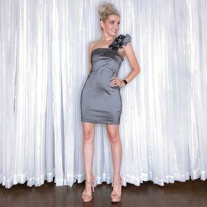 Snap Dresses - Metallic some Shoulder Cocktail Dress
